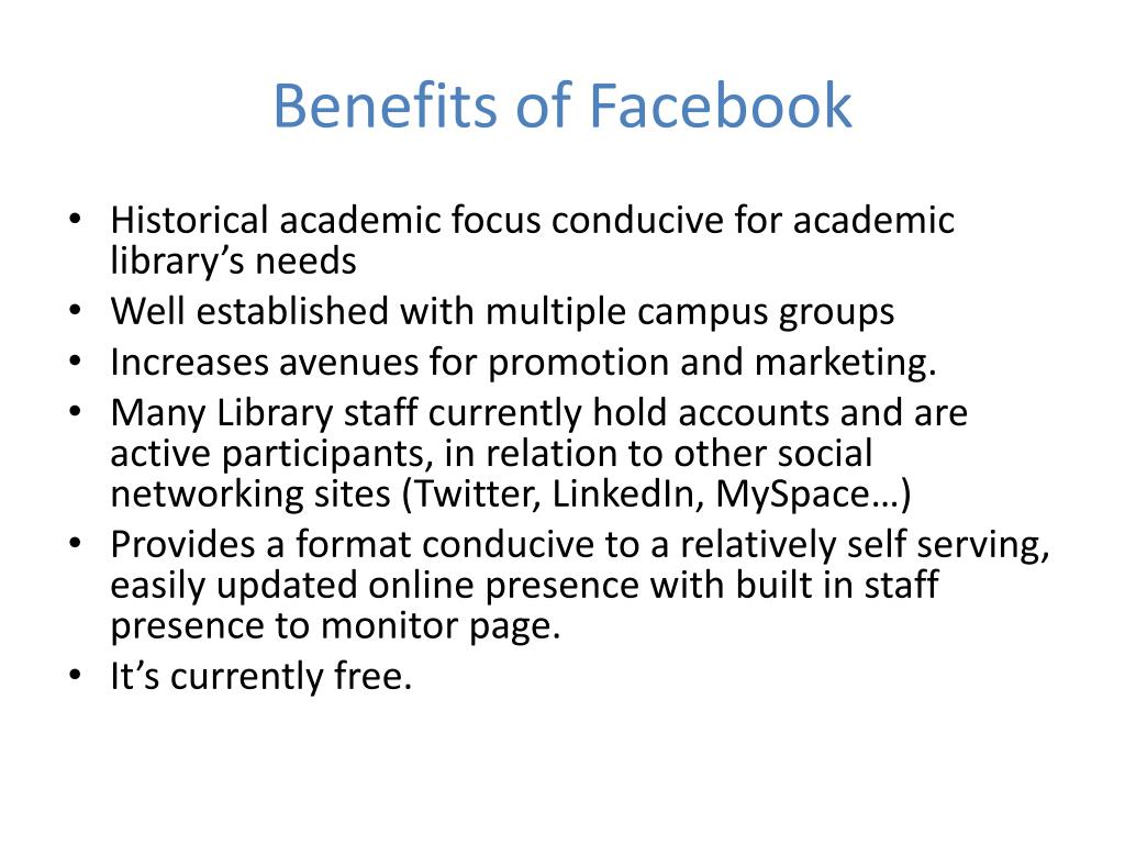 Benefits of Facebook