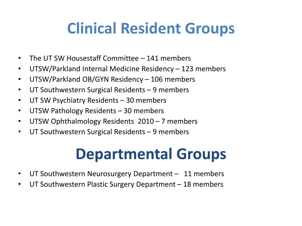 Clinical Resident Groups