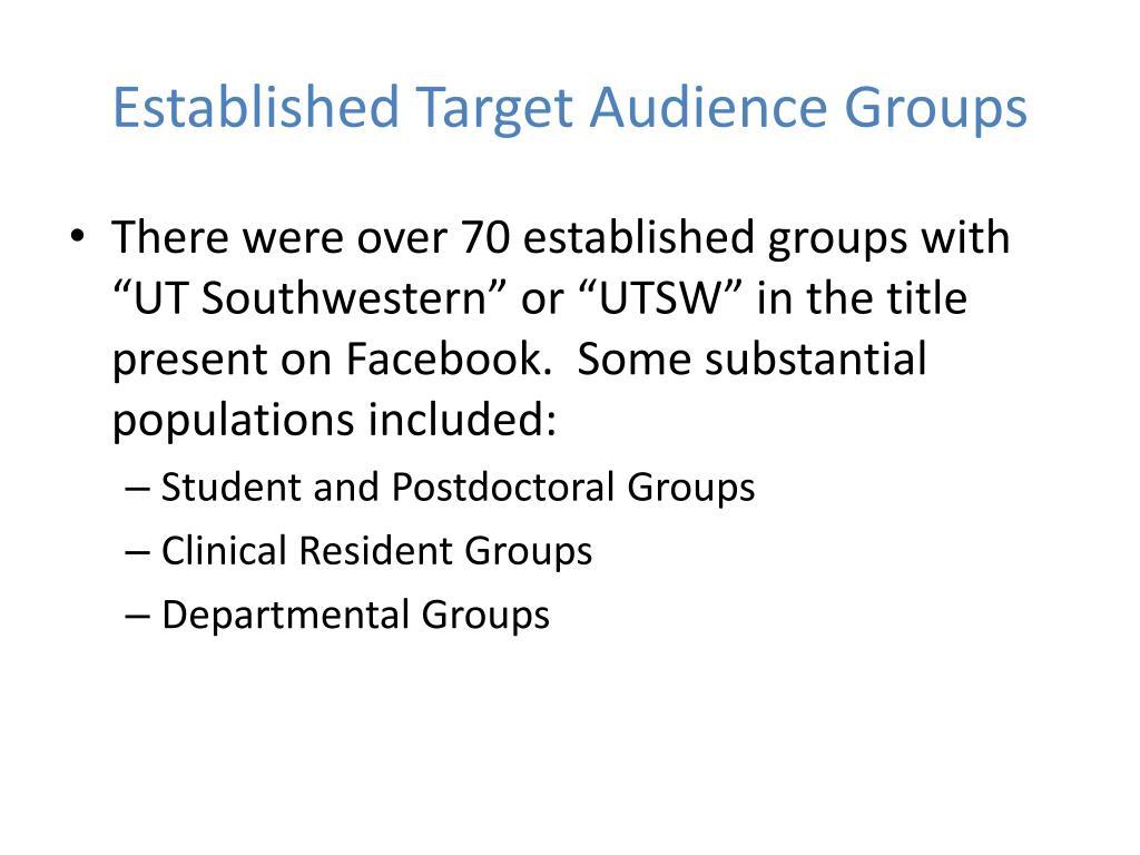 Established Target Audience Groups