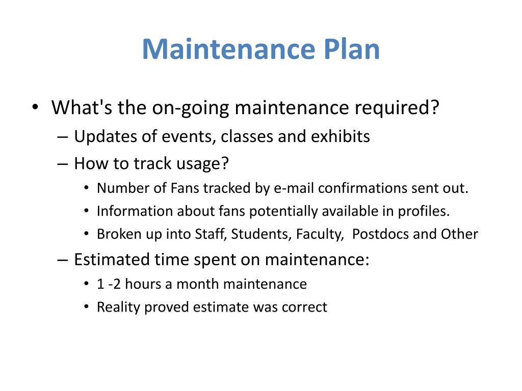 Maintenance Plan