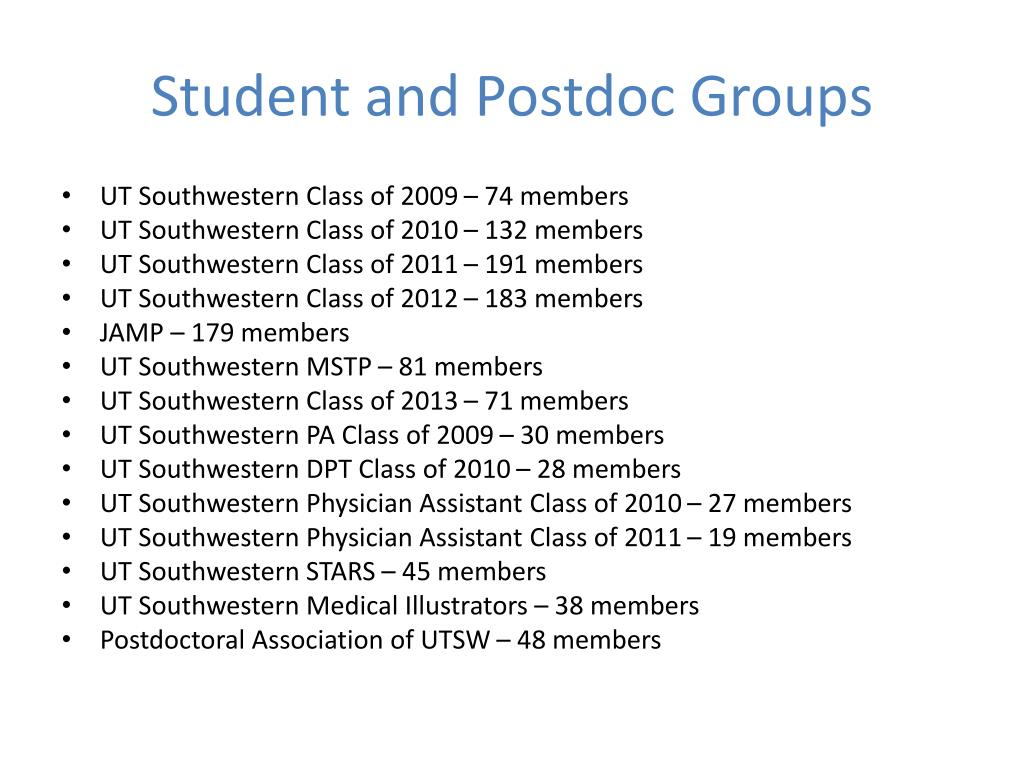 Student and Postdoc Groups