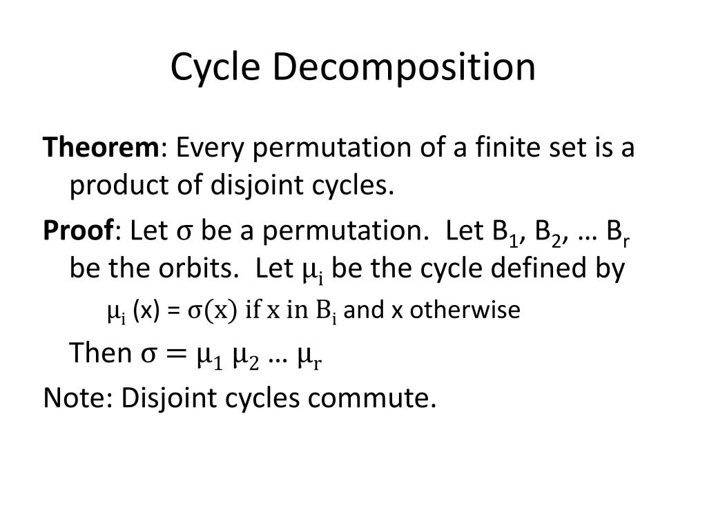 Cycle Decomposition