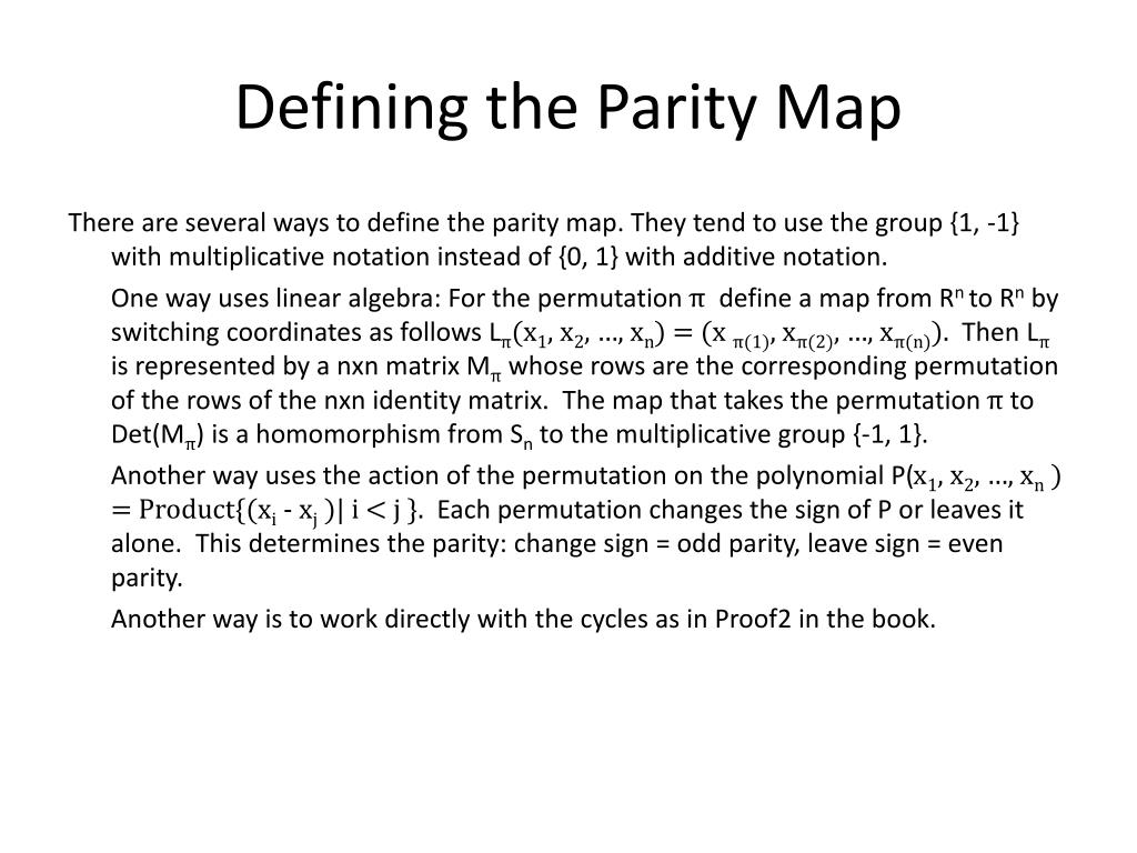 Defining the Parity Map