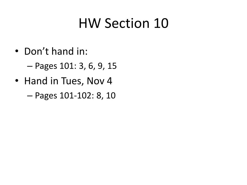 HW Section 10