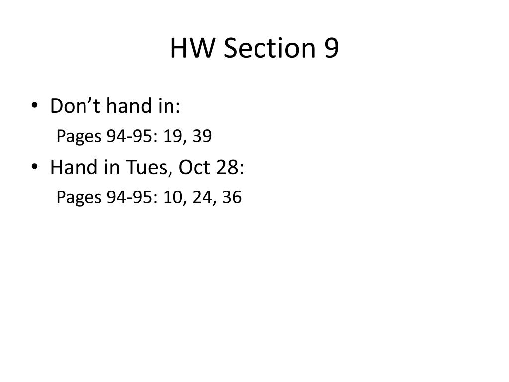 HW Section 9