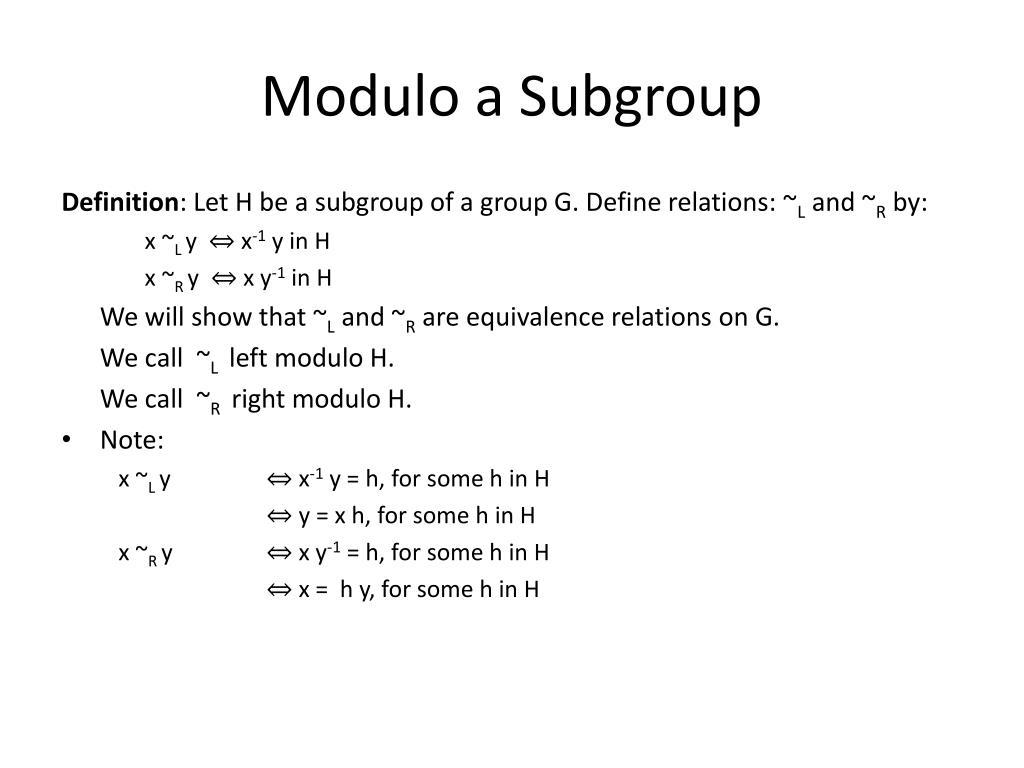 Modulo a Subgroup