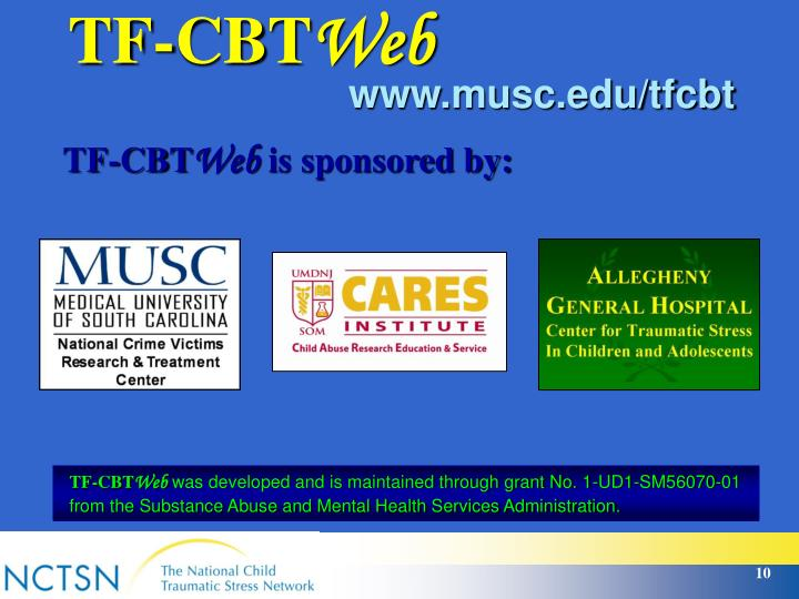 cbt tf trauma focused therapy tfcbt cognitive presentation behavioral ppt powerpoint clinical musc edu slideserve maintained ud1 developed grant through