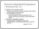 women s basketball evaluations