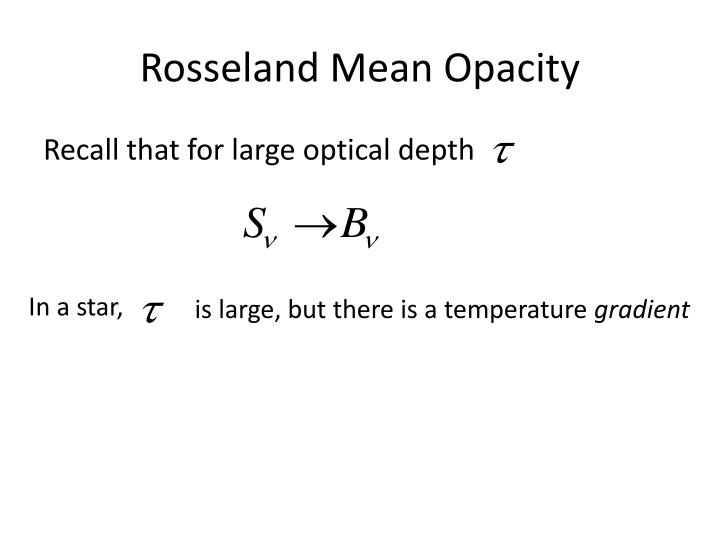 Rosseland Mean Opacity