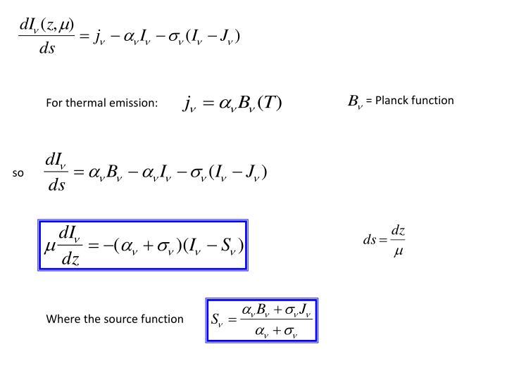 = Planck function