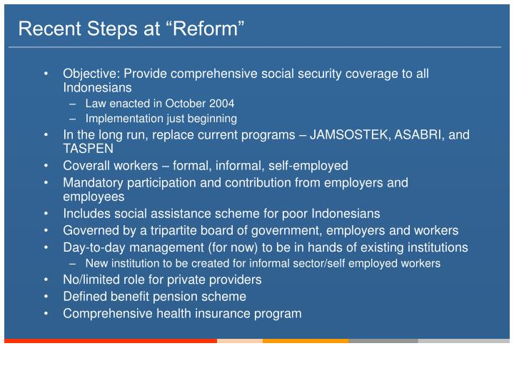 "Recent Steps at ""Reform"""
