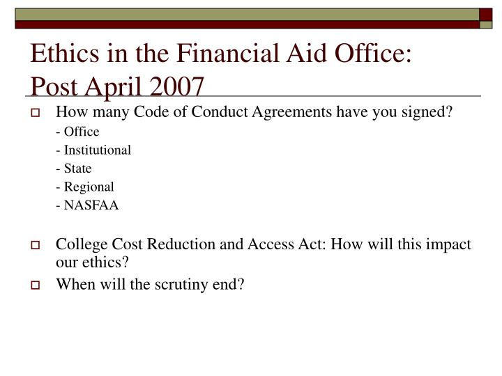 Ethics in the Financial Aid Office:
