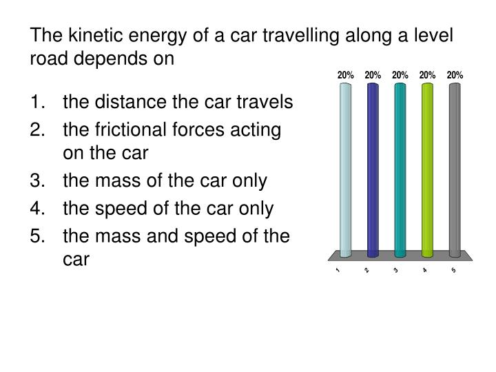 the kinetic energy of a car travelling along a level road depends on