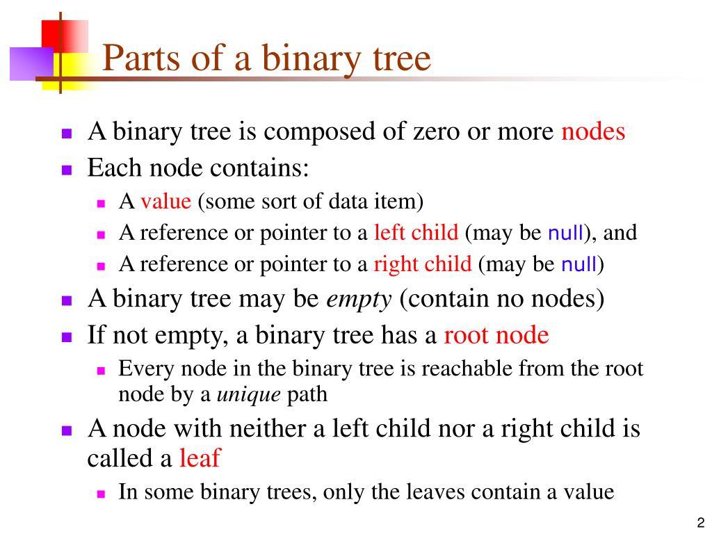 Parts of a binary tree