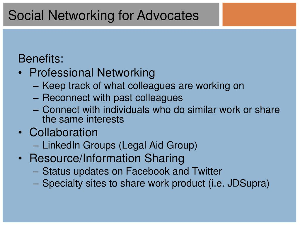 Social Networking for Advocates