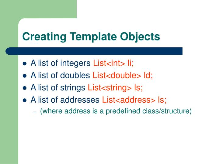 Creating Template Objects
