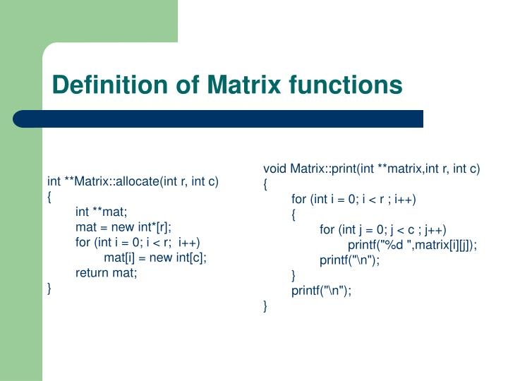 int **Matrix::allocate(int r, int c)