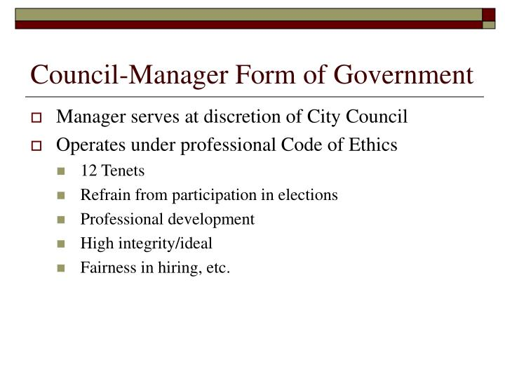 Council-Manager Form of Government
