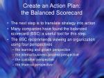 create an action plan the balanced scorecard