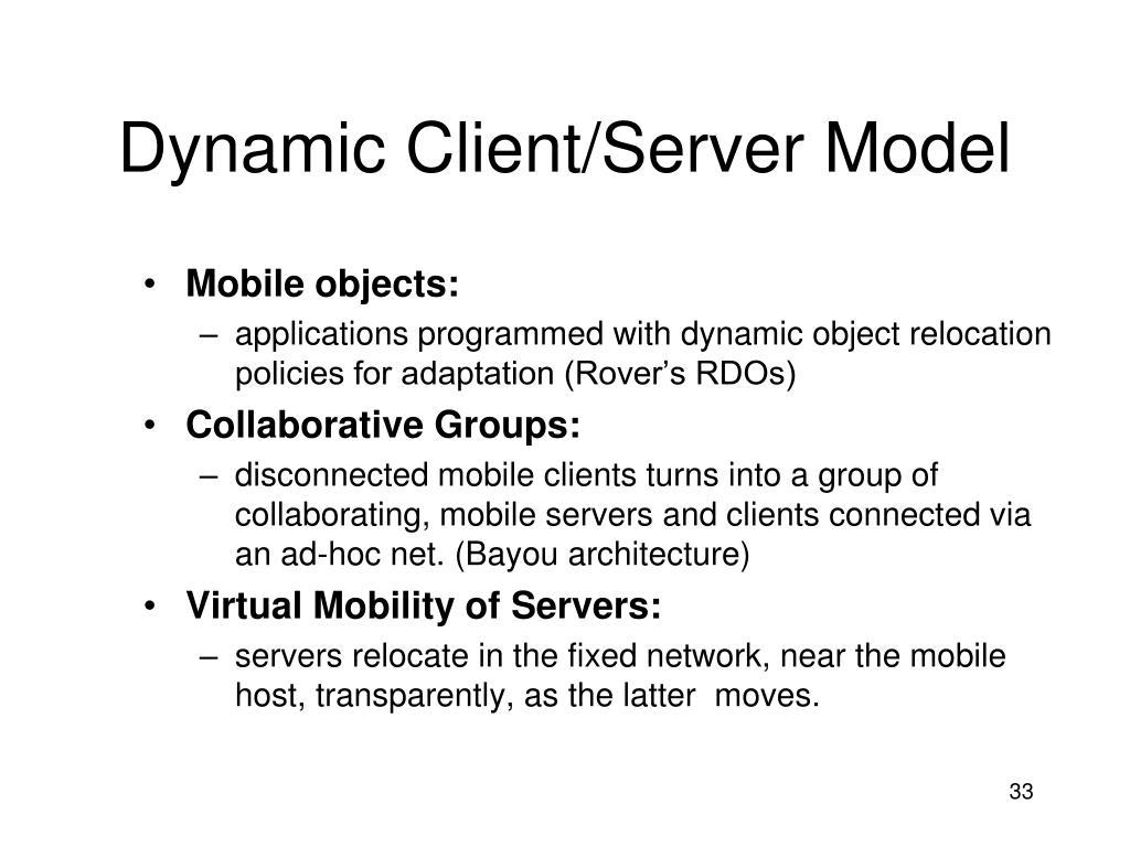 Dynamic Client/Server Model