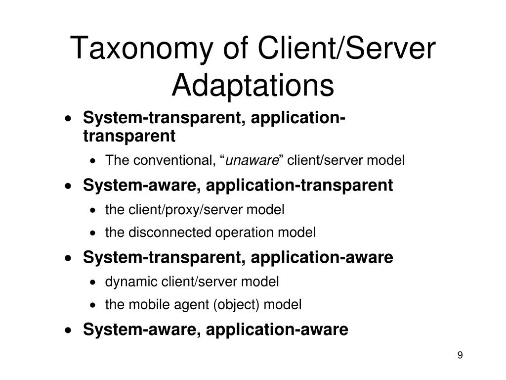 Taxonomy of Client/Server Adaptations