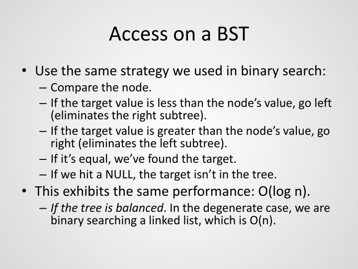 Access on a BST
