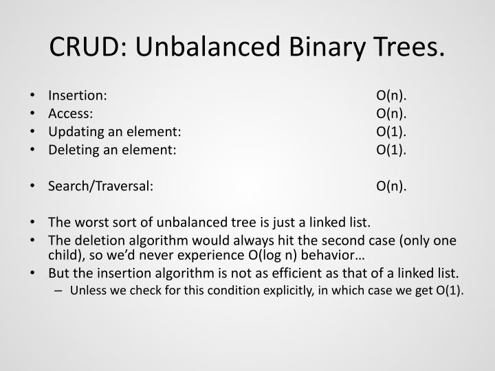CRUD: Unbalanced Binary Trees.