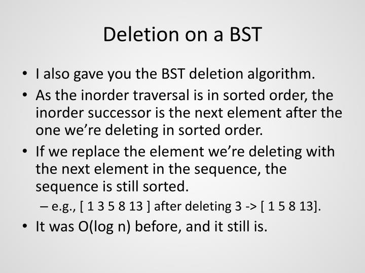 Deletion on a BST