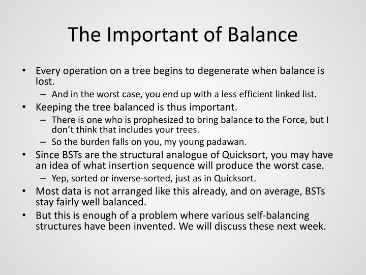 The Important of Balance
