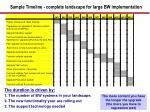 sample timeline complete landscape for large bw implementation
