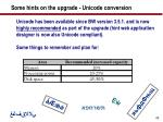 some hints on the upgrade unicode conversion