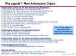why upgrade more authorization objects