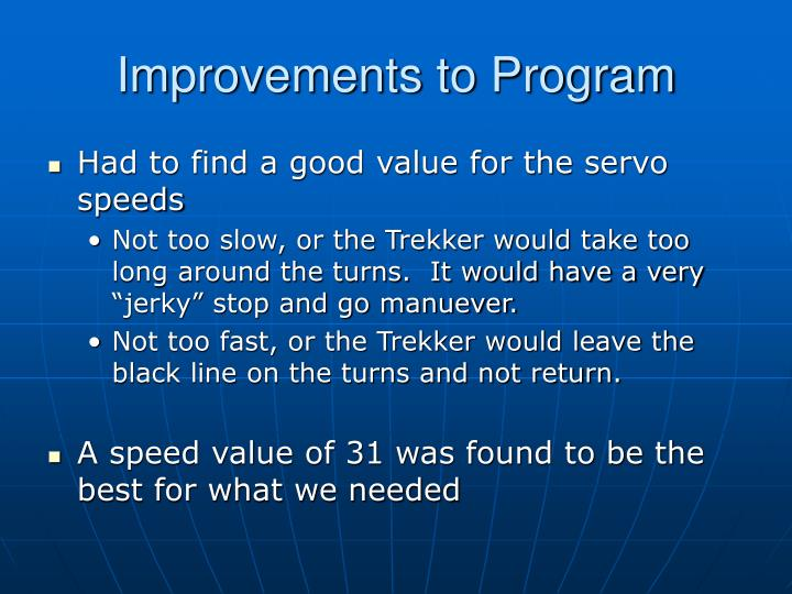 Improvements to Program