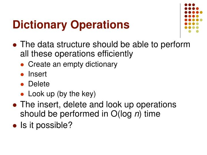 Dictionary Operations