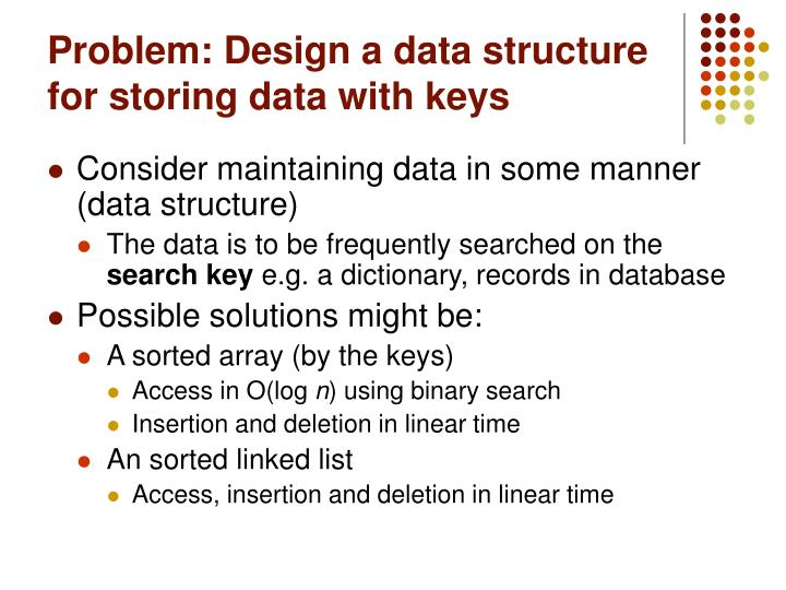 Problem: Design a data structure for storing data with keys