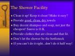 the shower facility