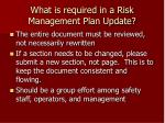 what is required in a risk management plan update