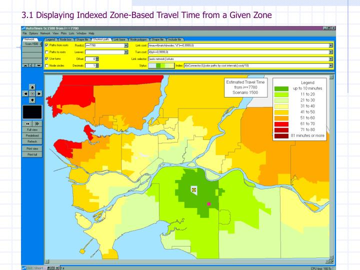 3.1 Displaying Indexed Zone-Based Travel Time from a Given Zone