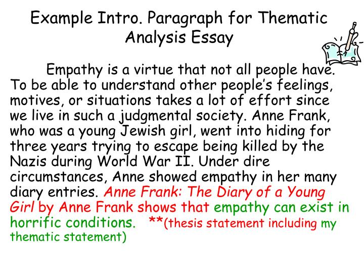 thematic essay example