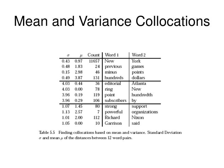 Mean and Variance Collocations