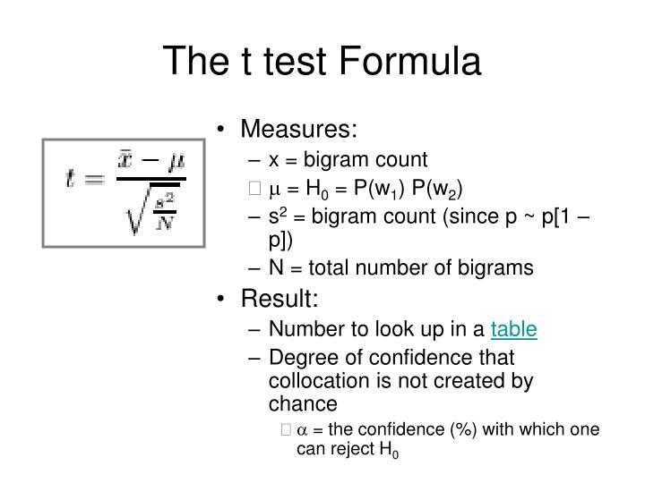 The t test Formula