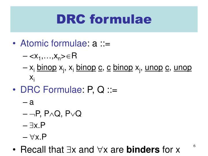 DRC formulae