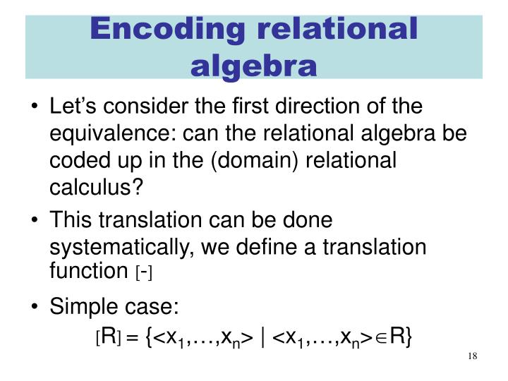Encoding relational algebra