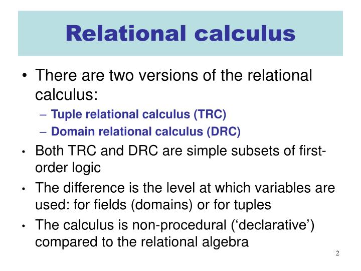 Relational calculus