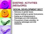 existing activities mdgs drg