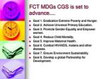 fct mdgs cgs is set to advance