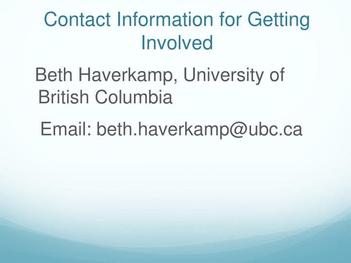 Contact Information for Getting Involved