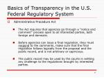 basics of transparency in the u s federal regulatory system