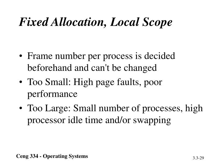 Fixed Allocation, Local Scope