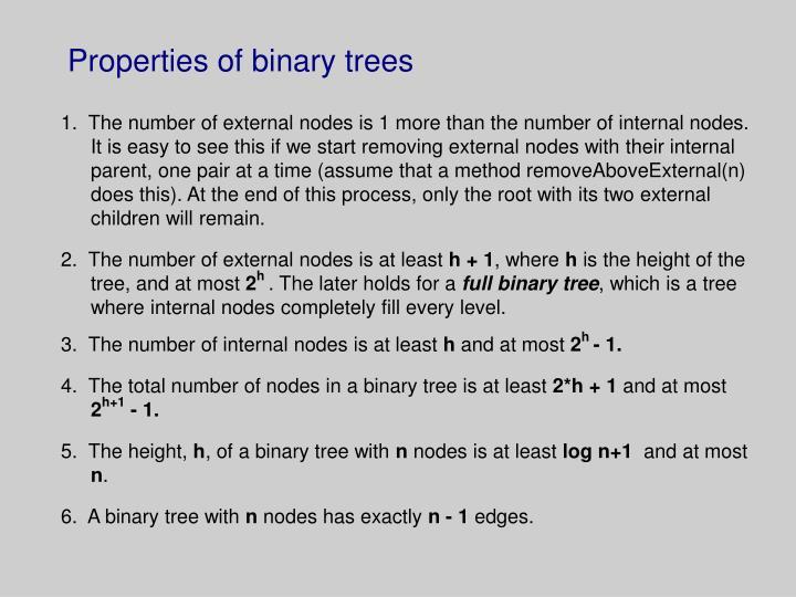 Properties of binary trees
